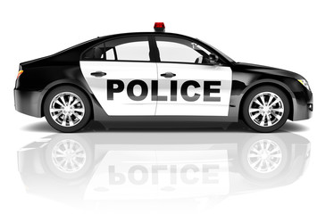 3D Police Car Isolated on White Background
