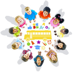 Group of Multiethnic Children and School Concept