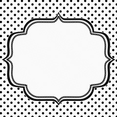 Black and White Polka Dot Background with Embroidery