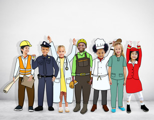 Multiethnic Children in Dream Job Uniforms