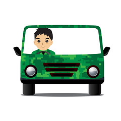 Car Military  design illustration cartoon Driving military