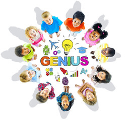 Group of Children Circle with Genius and Symbols