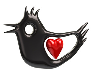 Illustration of black bird and red heart