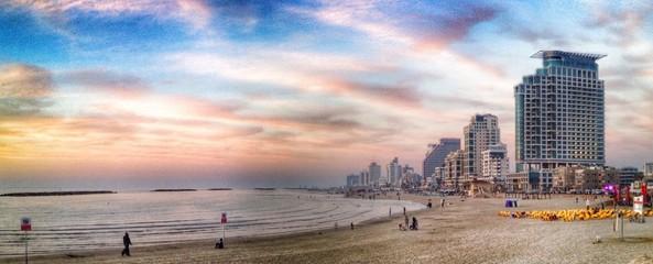 tel aviv beach sunset panorama