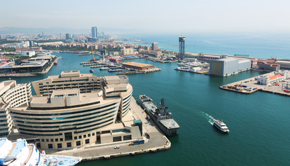 Aerial view of Main building of Port Vell. Barcelona