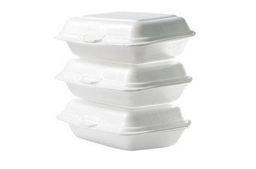 Stack of Styrofoam takeaway boxes on white  : Clipping path