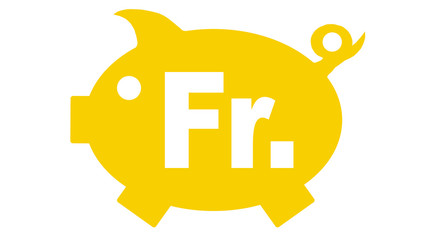 button piggy bank in yellow with franken symbol - franken7 g1199