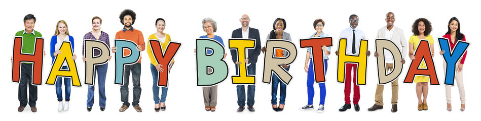 Group of People Holding Letter Happy Birthday