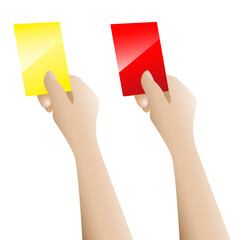 Hand holding up the red card and yellow card vector on white bac