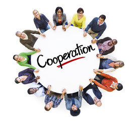 Diverse People in Circle with Cooperation Concept