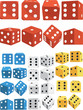 Dice in Several Positions and Colors - 68937271