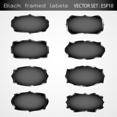vector set Black framed labels