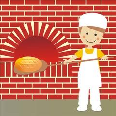 Panadero sacando el pan del horno con fondo