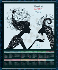 Calendar for 2015 year with a goat and Zodiac sign cancer. fashi