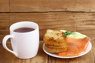 Breakfast tea sandwich with salmon