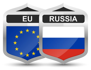 EU & Russia – Metal Shield Icons