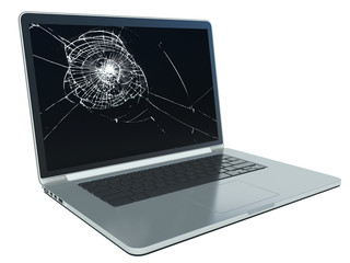 laptop with cracked screen on white