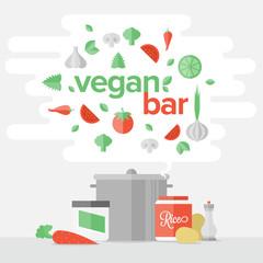 Vegetarian food flat banner concept