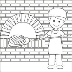 Panadero sacando el pan del horno líneas con fondo