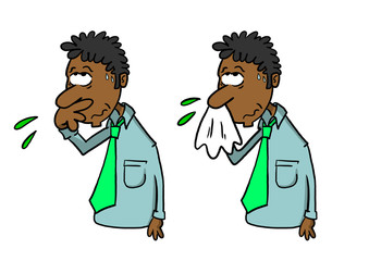 Dark skinned man wiping nose with hand and blowing nose