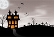 Halloween card with castle, pumpkin, bats and moon - 68939048