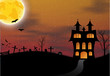 Halloween card with castle, pumpkin, bats and moon - 68939051