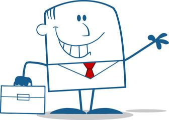 Smiling Businessman Waving Monochrome Cartoon Character