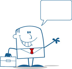 Businessman Waving Monochrome Character With Speech Bubble