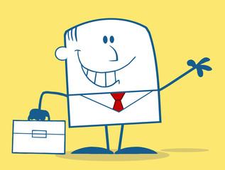Businessman Waving Monochrome Character On Yellow Background