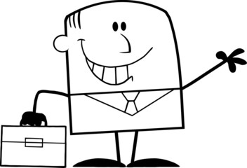 Black And White Smiling Businessman Cartoon Character Waving