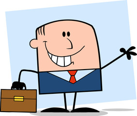 Smiling Businessman Cartoon Character Waving On Background