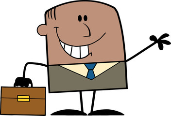 Smiling African American Businessman Cartoon Character Waving
