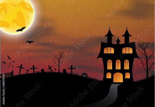 Halloween card with castle, pumpkin, bats and moon - 68939051