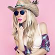 Sexy girl in cowboy fashion style