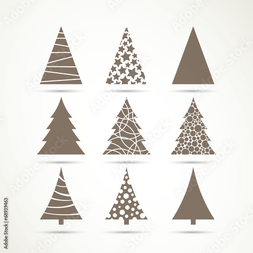 Vector Illustration of Christmas Tree Icons