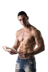 Shirtless Muscular Sexy Man Reading Big Book