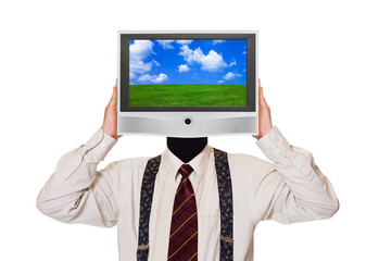 Man with tv screen for head