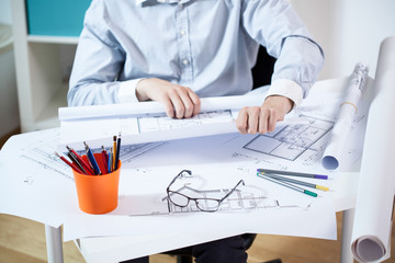 Man working in architectural office