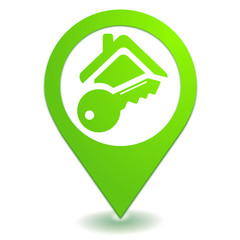 alarme de maison sur symbole localisation vert