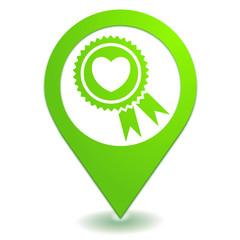 coup de coeur sur symbole localisation vert