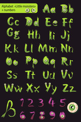 alphabet with numbers. little green monsters.