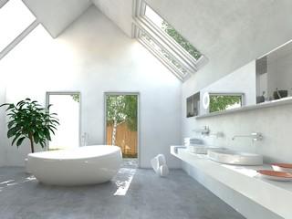 Helles lichtdurchflutetes Badezimmer mit moderner Einrichtung