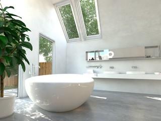 Helles Badezimmer mit Badarmaturen und Badewanne
