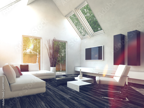 canvas print picture Elegant White Living Room with Glass Windows