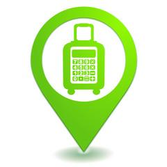 frais de bagages sur symbole localisation vert