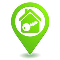maison sous alarme sur symbole localisation vert