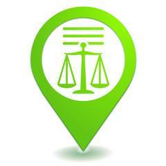 mentions légales sur symbole localisation vert