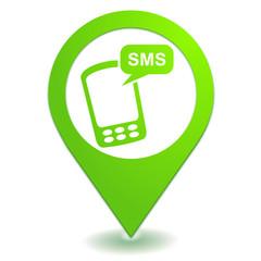 sms sur symbole localisation vert