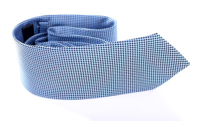 Blue tie on white background isolated
