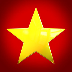 Golden star on red